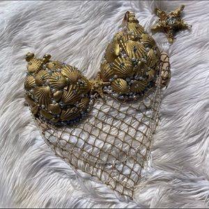 Custom made mermaid shell bra and starfish clip